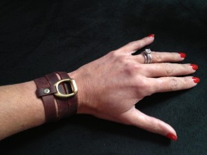 WRAPAROUND LEATHER AND BRASS BRACELET- THE STIRRUP WORN