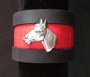 HORSE HEAD LEATHER AND SILVER PLATE CUFF