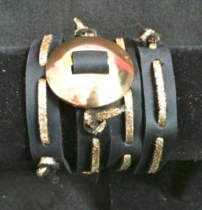 concho wraparound in gold glitter suede