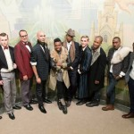 Men models with show choreographer and designer Redgi Woods